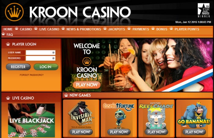 Screenshot van Kroon Casino